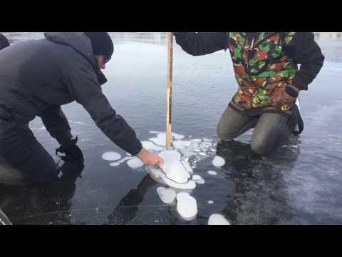 Burning Methane on a lake