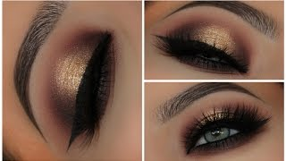 One of Amys Makeup Box's most viewed videos: Gold & Black Halo Smokey Eyes | Amys Makeup Box
