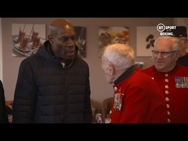 Proper respect! Frank Bruno and Daniel Dubois meet the Chelsea Pensioners