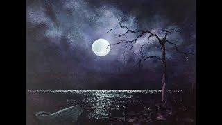 Ночное небо! Луна и блики на воде. Лимитированная палитра.Акрил. Night Sky in acrylic