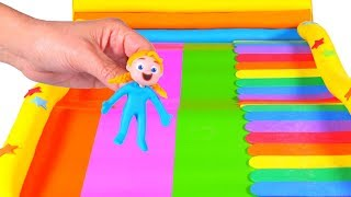 FUNNY KIDS LOVE THE GIANT SLIDE  ❤ Play Doh Cartoons For Kids