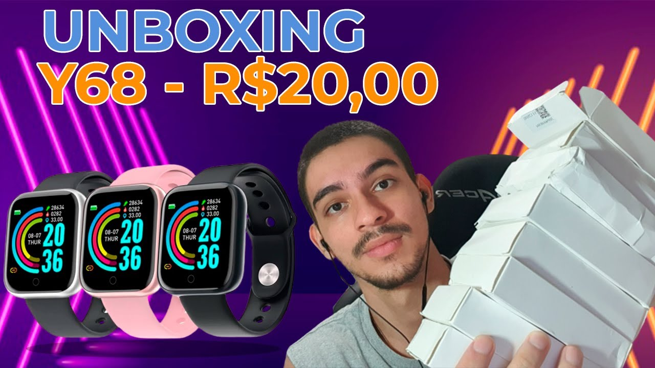 UNBOXING SMARTWATCH Y68 - R$20,00 - SHOPEE