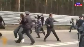 Police Runs and Fights Against an Army of Angry People