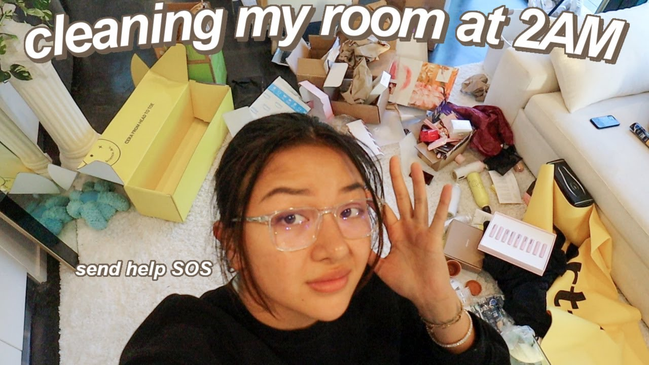 CLEANING MY MESSY ROOM AT 2AM (motivation to clean ur room) + cook w/ me