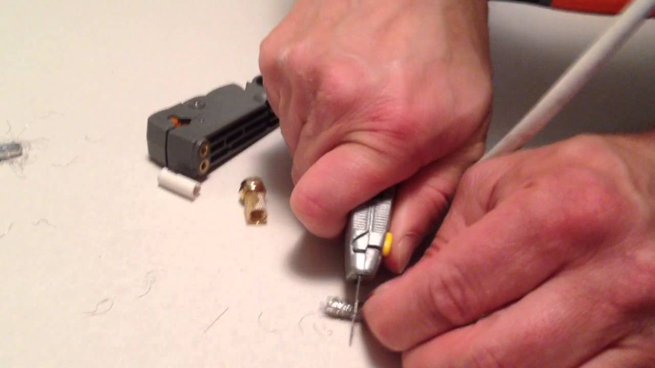 How To Fix Cut Repair Make End On Coax Coaxial TV Cable Wire - YouTube
