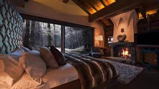 3 hours Relaxing Sounds WINTER WONDERLAND Beautiful Snow with Fireplace Crackling