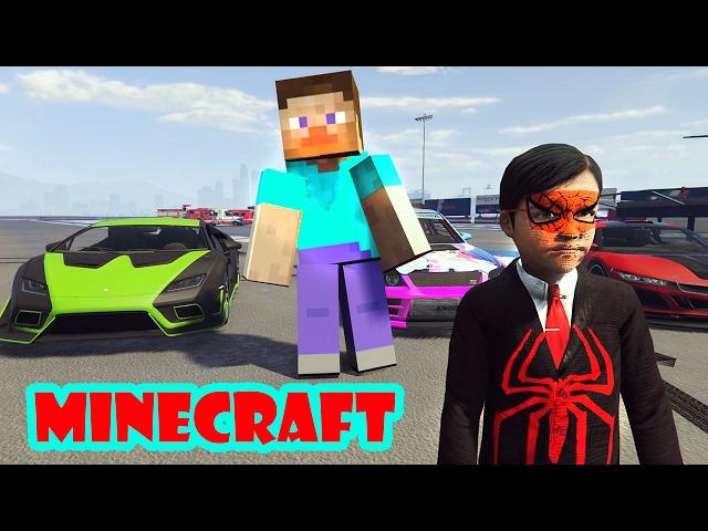 Minecraft Steve ve Örümcek Çocuk Tehlikeli Yarışta (Çizgi Film Gibi)