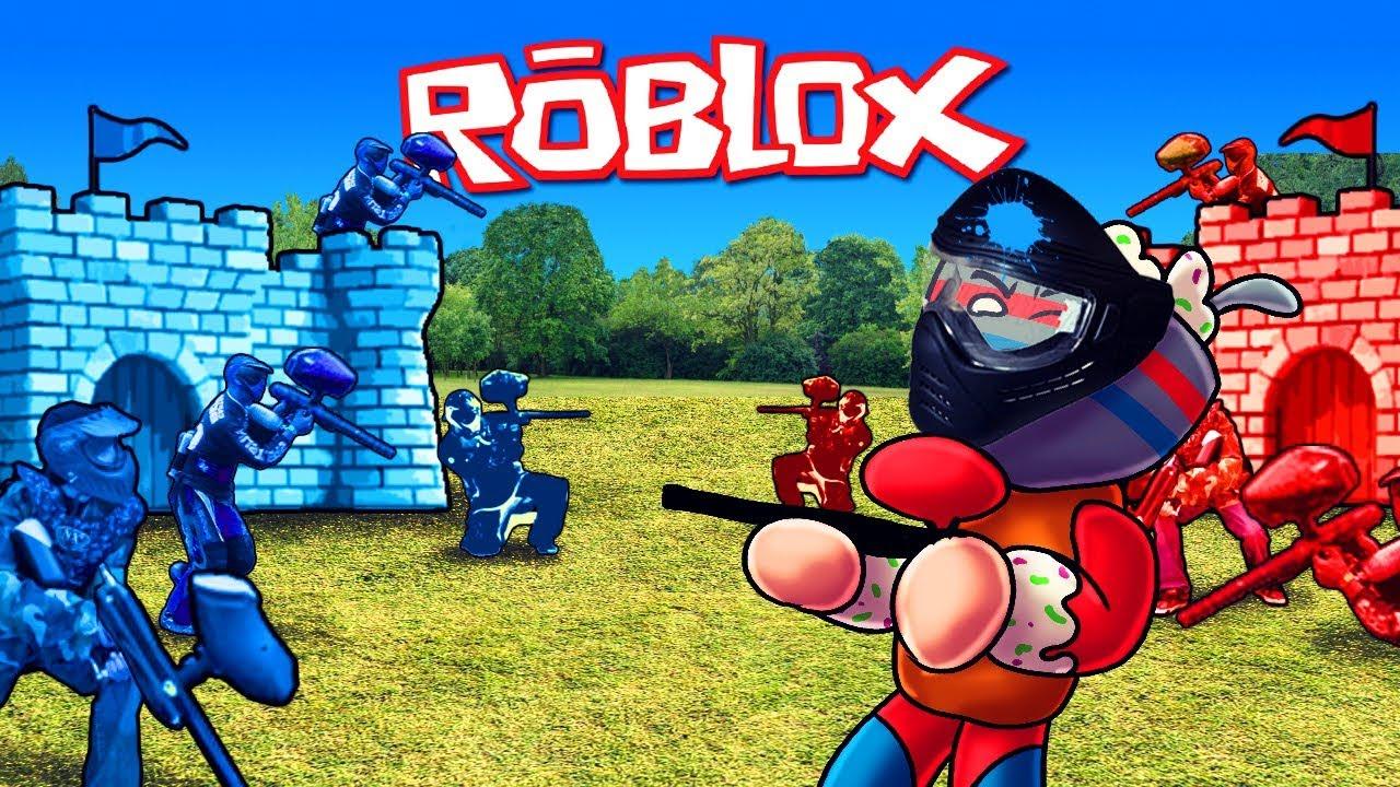 Ekibe Karsi Boya Savasi Roblox Mad Paintball Youtube