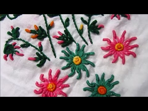 Bullion Knot And Lazy Daisy Stitch Hand Embroidery Youtube