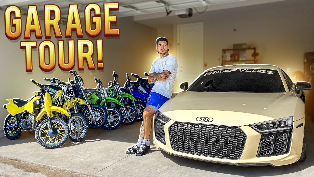 BRAAP VLOGS FULL GARAGE TOUR ! ( DIRTBIKES AND SUPERCARS )
