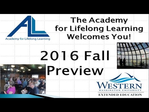 Academy for Lifelong Learning 2016 Fall Preview