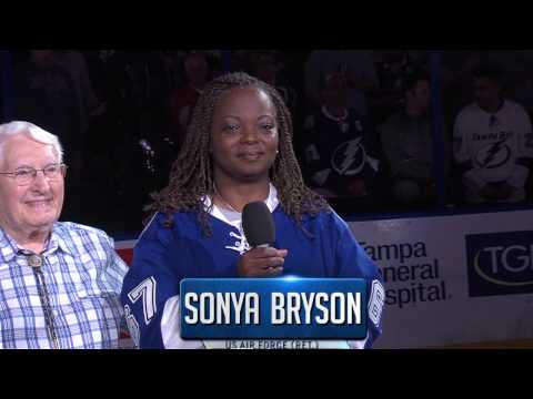 Retired USAF TSGT Sonya Bryson/Army Air Corps Lt. Robert McClintock join forces National Anthem!