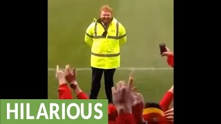 Rugby fans hilariously serenade Ed Sheeran look alike
