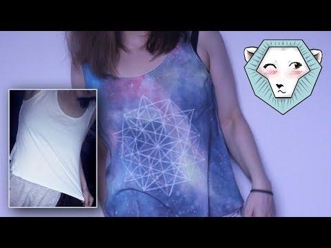 티셔츠 위에 그리해요. 우주. Роспись майки. Космос на одежде