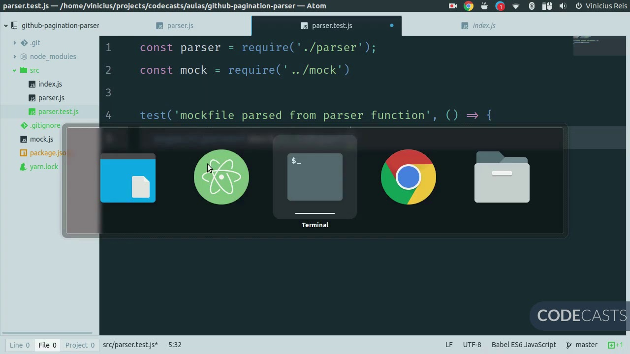CODECASTS-github-pagination-05-yarn-test-jest mp4