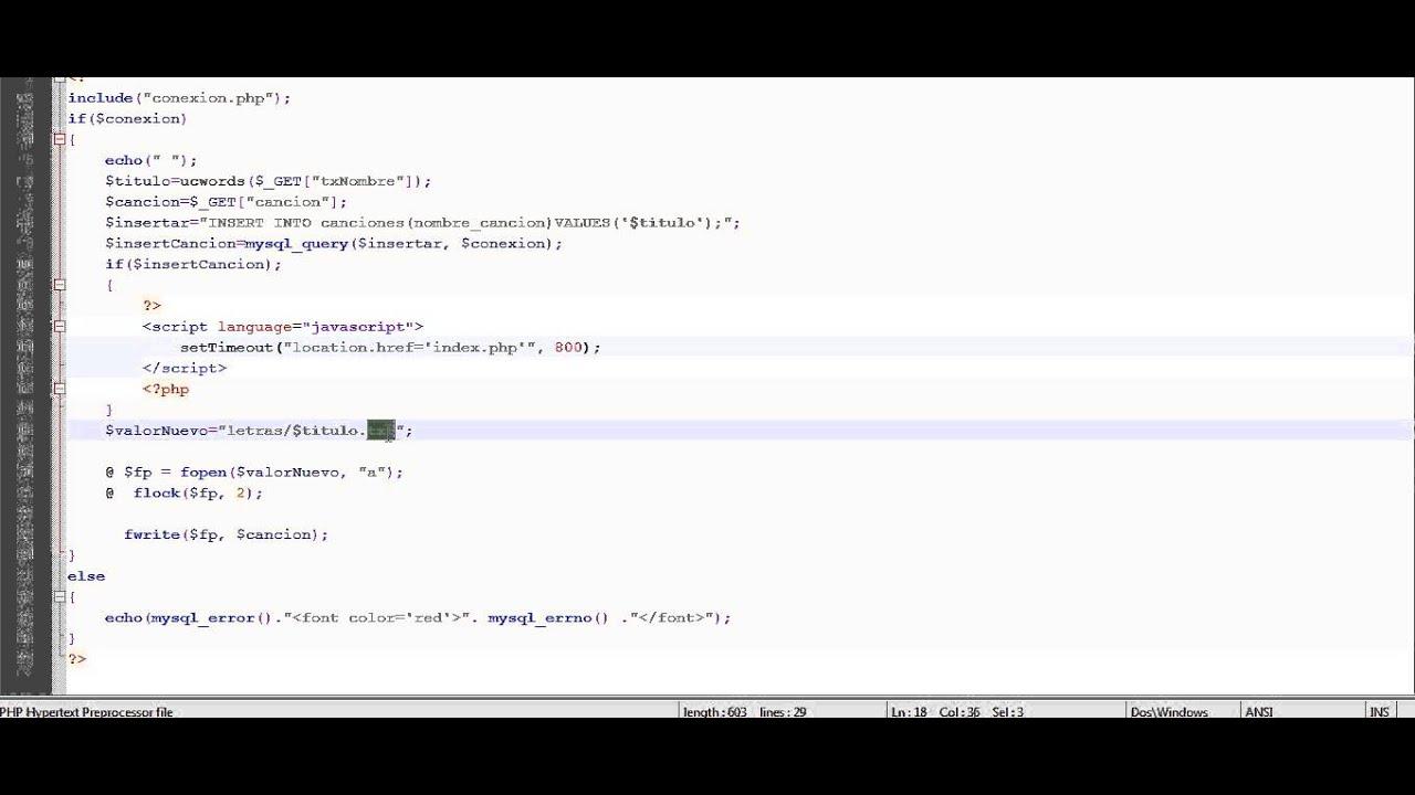 Sistema de lectura de canciones - Uso de fopen() y fwrite() PHP