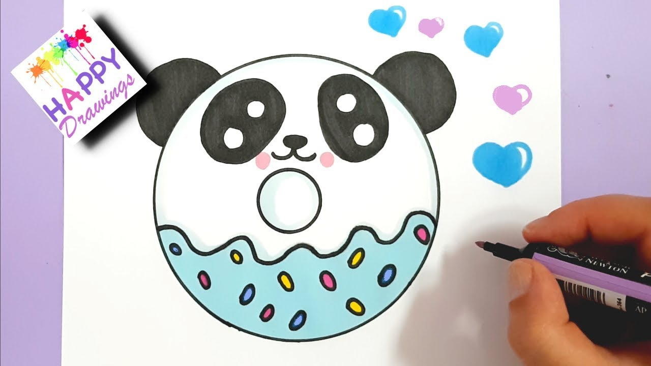 How To Draw A Cute Panda Donut Easy Step By Step Youtube