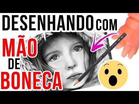 DESENHANDO COM MÃOZINHA DE BONECA DESAFIO DE ARTE