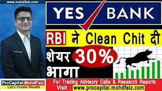 YES BANK  RBI ने Clean Chit दी  शेयर 30 % भागा | YES BANK SHARE NEWS TODAY