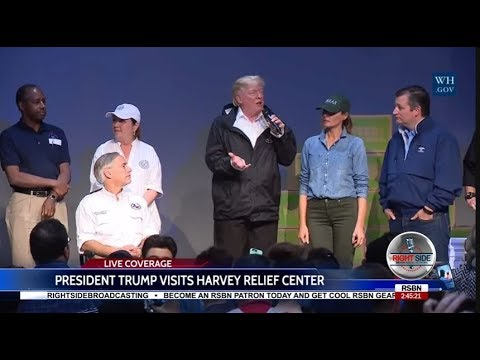 President Trump & FLOTUS Visit Hurricane Harvey Relief Center in Houston 9/2/17