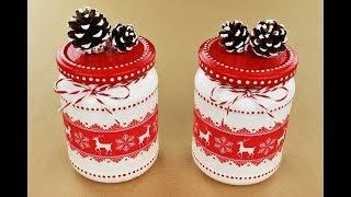 Christmas jars - Decoupage jars - Painted jars - Decoupage tutorial - DIY - Do It Yourself