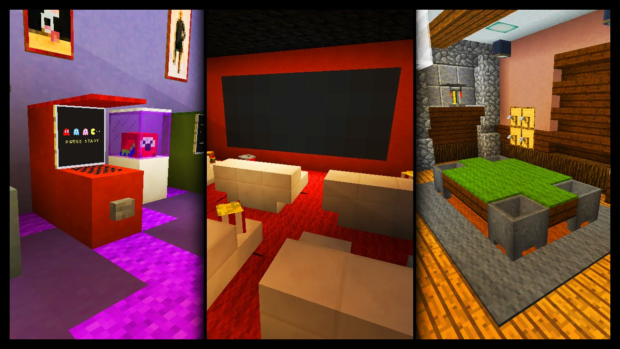 Minecraft games room designs ideas youtube for Minecraft house interior living room