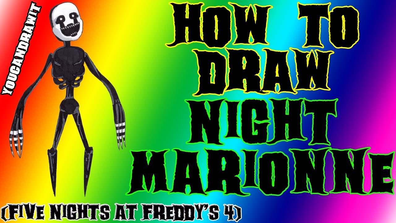 How to draw nightmarionne from five nights at freddy s 4