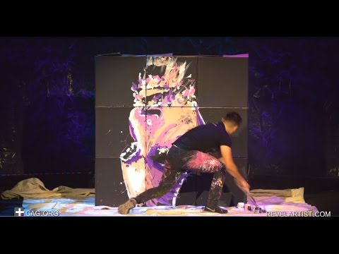 UPSIDE DOWN - Speed painter wows audience with incredible painting