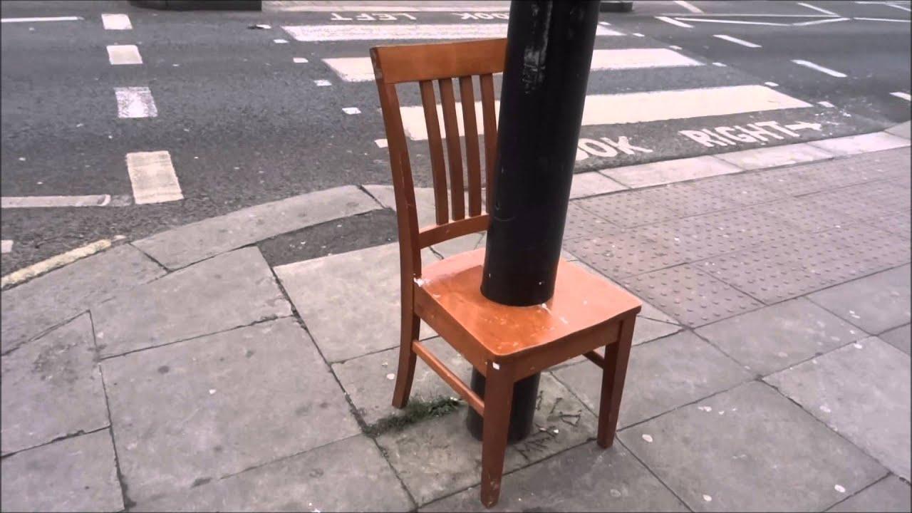a very crazy chair street art installation near camden. Black Bedroom Furniture Sets. Home Design Ideas