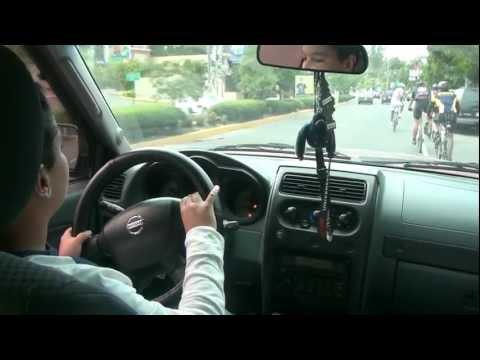 Small kid driving dad's car
