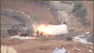 مقتل قيادي للنظام وتدمير دبابة وكاسحة جنوبي داريا وثوار الزبداني ينسفون عدة حواجز لحزب الله