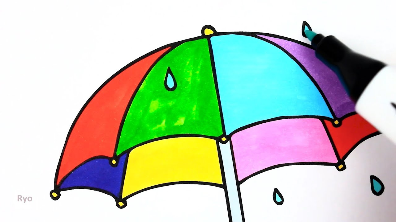 How to draw an rainbow umbrella | Coloring pages for kids to learn ...