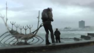 Crazy Wind Storm 70 m/s 150 mph in Reykjavik Iceland