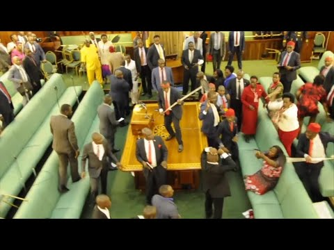 Ugandan MPs fight in parliament for second day over presidential age limit