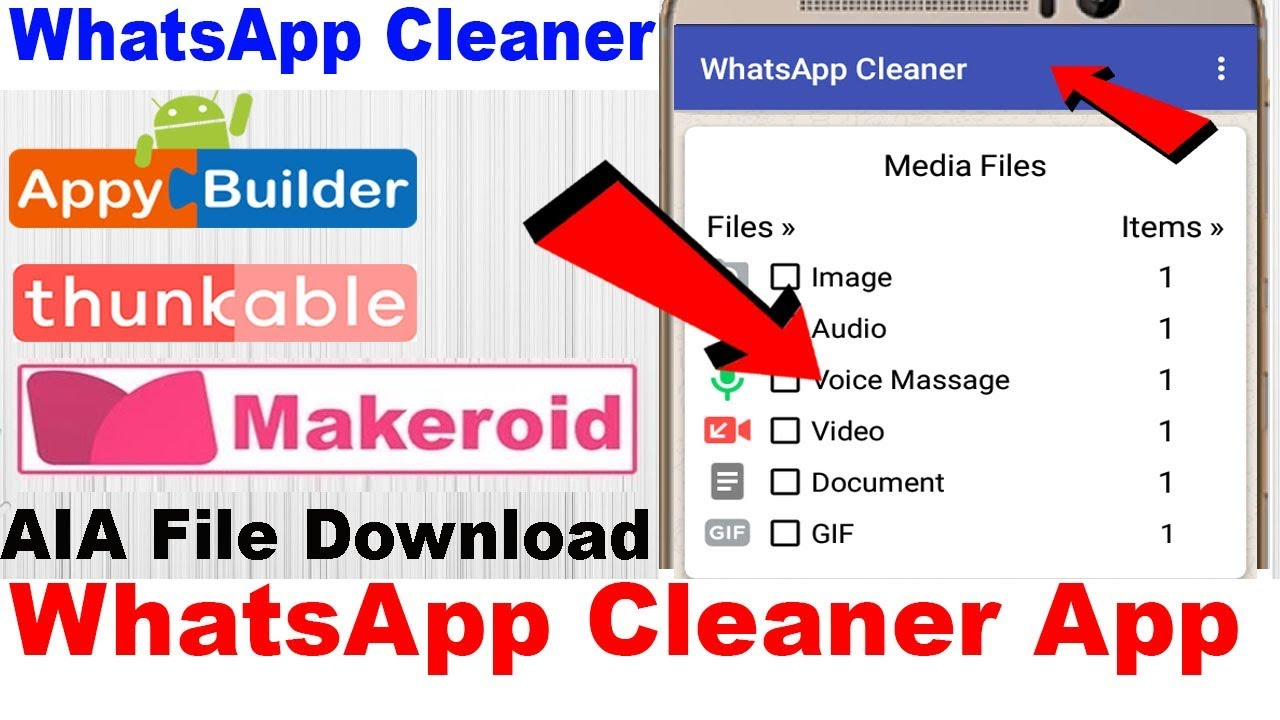 WhatsApp Cleaner App | AIA File | Thunkable | Appybuilder | Makeroid