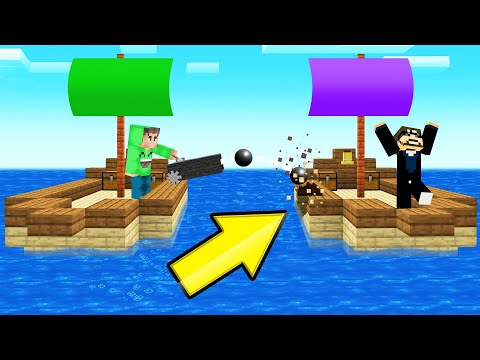Playing SHIP WARS In MINECRAFT