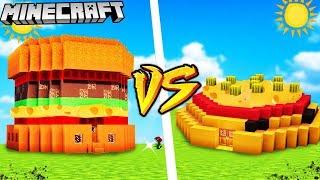 HAMBURGER DOM VS PIZZA DOM - MINECRAFT   Vito VS Gplay Challenge