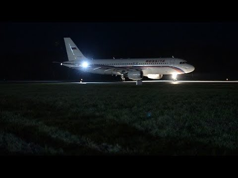 "Night landing of the plane Airbus A319 ""Russia"", airport Ufa 04/28/2016"