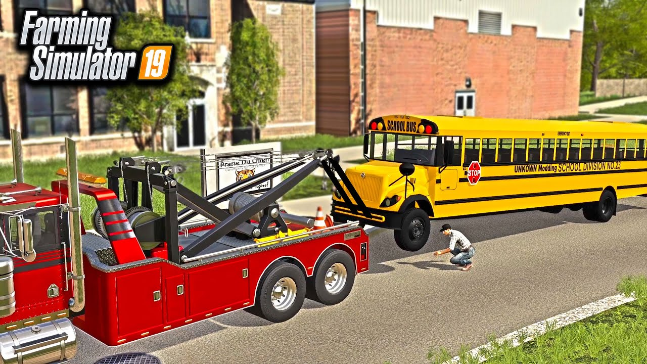 REPOING A SCHOOL BUS FROM THE SCHOOL! (ROLEPLAY) | FARMING SIMULATOR 2019