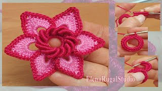 Irish Crochet Double Layered Flower Tuto...