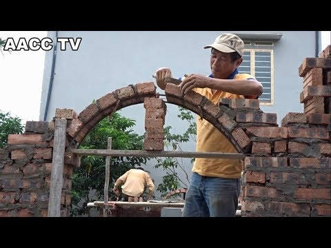 Amazing Construction Technology - Building Brick Arch Feature Step by Step