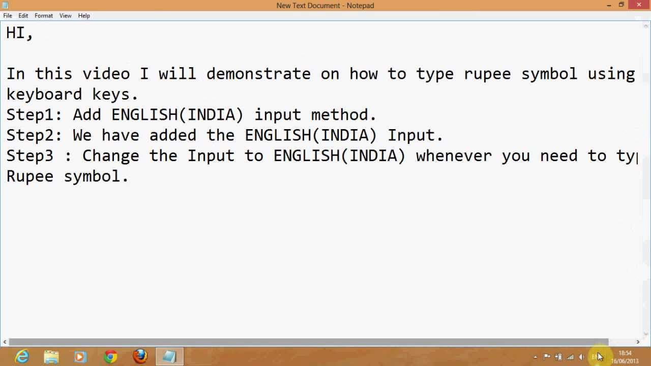 Type Rupee Symbol In Windows Youtube