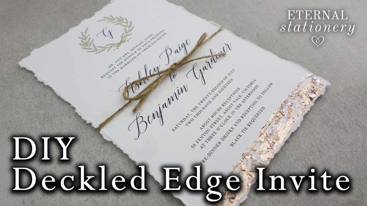 Faux Deckled Edge Diy Wedding Invitation With Metallic Gold Leaf Easy Invitations