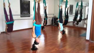 Aerial Yoga Routine In Bangalore. Advanced Class Session In Progress.