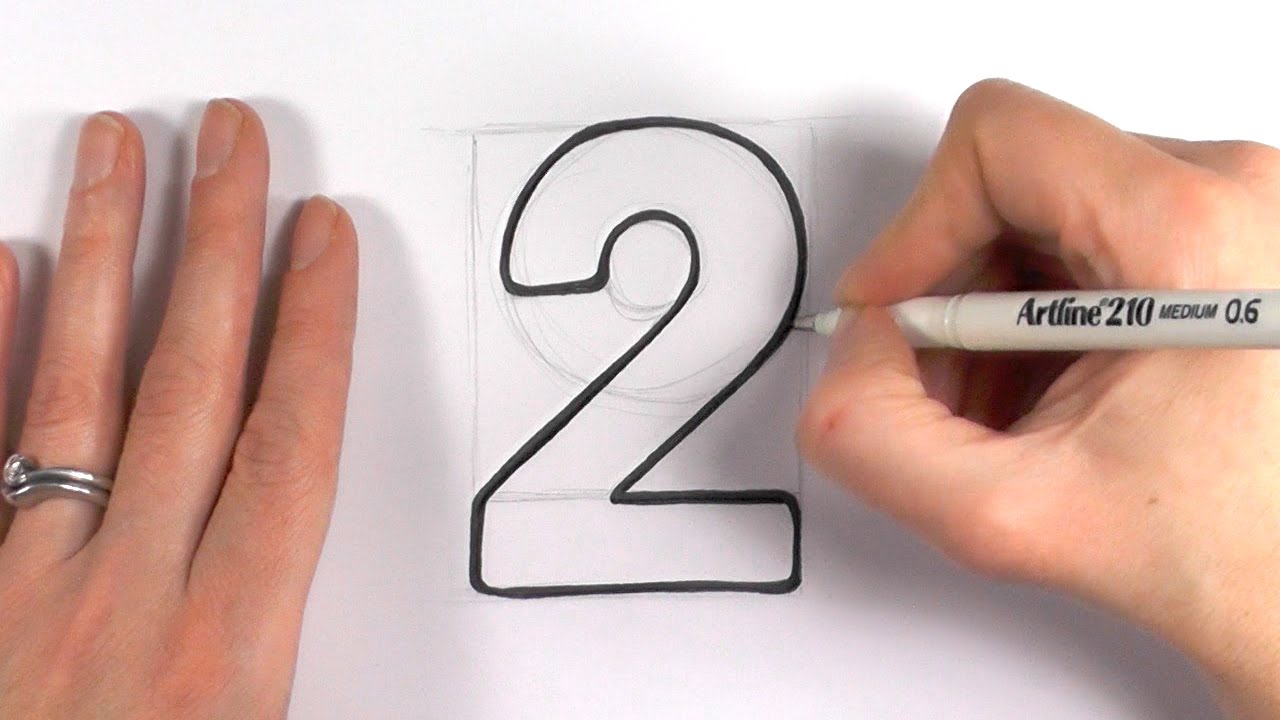 How To Draw A Cartoon Number 2 Youtube