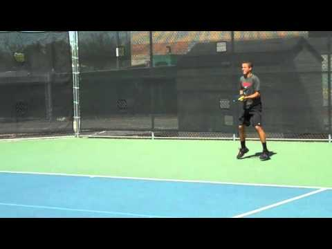 Max Schell warming up with Wayne Ferreira (Former World #6 on ATP Tour)