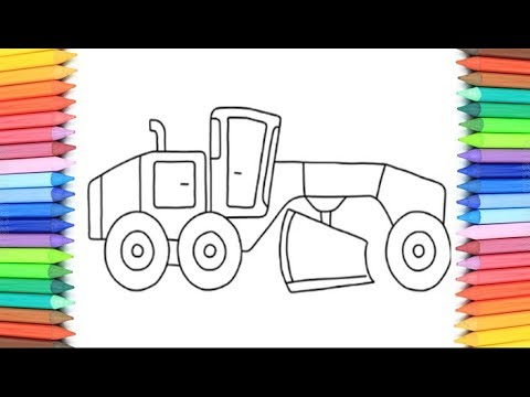 How To Draw A Road Roller For Kids 💜💖💚💛 Road Roller Drawing And Coloring Pages For Kid