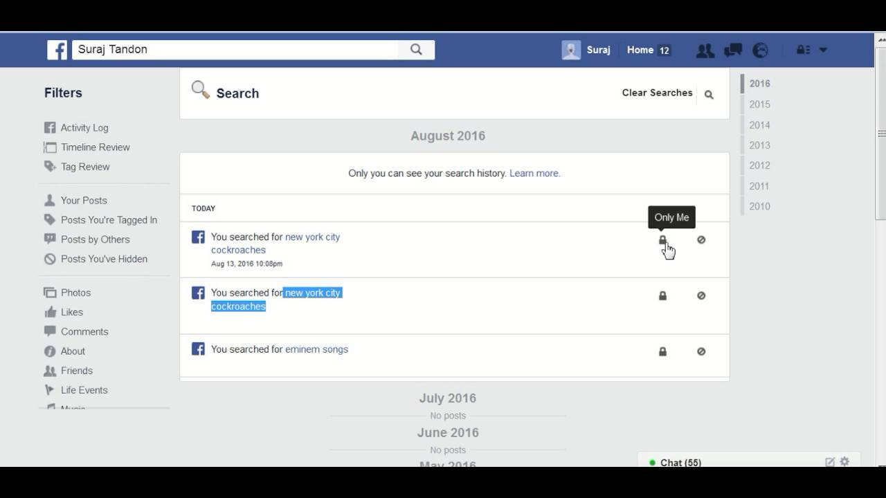 How To Delete Facebook Search Bar History