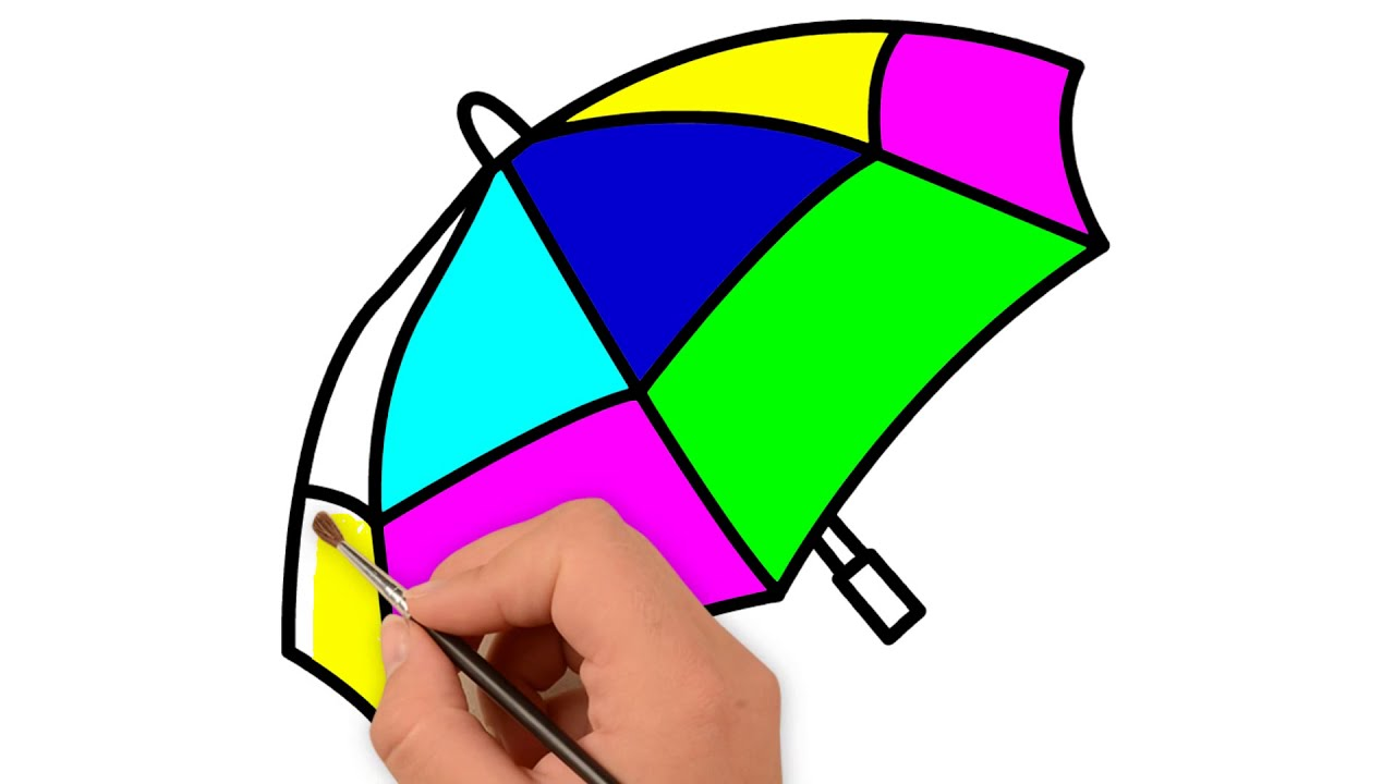 Balloon n Umbrella Drawing & coloring page for kids | step by step ...