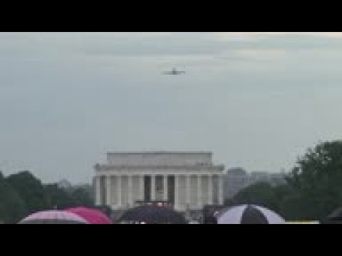 Planes Fly Over Washington During Trump Speech